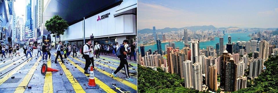 حي المال والأعمال في هونغ كونغ كان شبيهاً الاثنين بساحة حرب