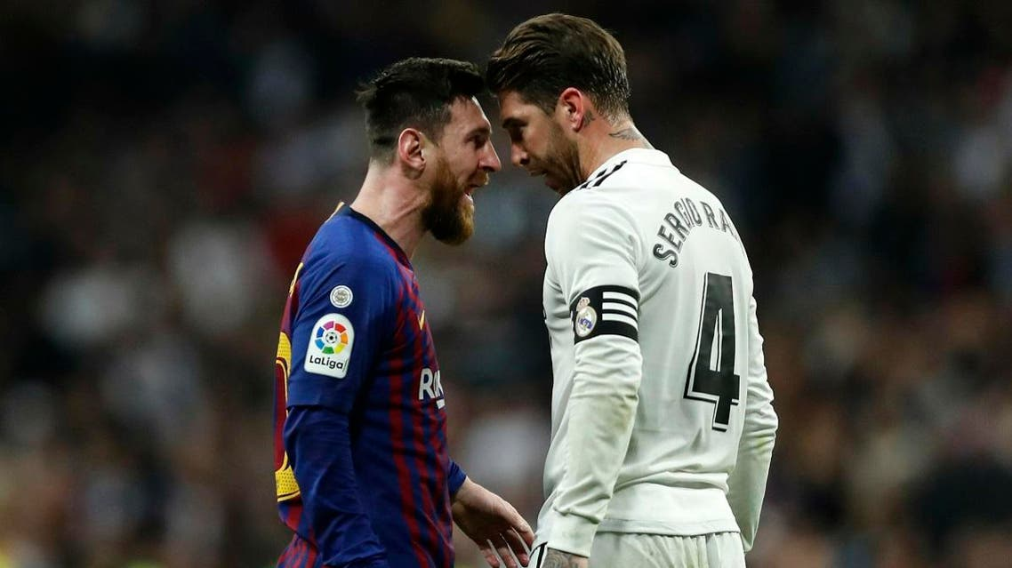Barcelona forward Lionel Messi, left, goes head to head with Real defender Sergio Ramos as they argue during the Spanish La Liga match. (File photo: AP)