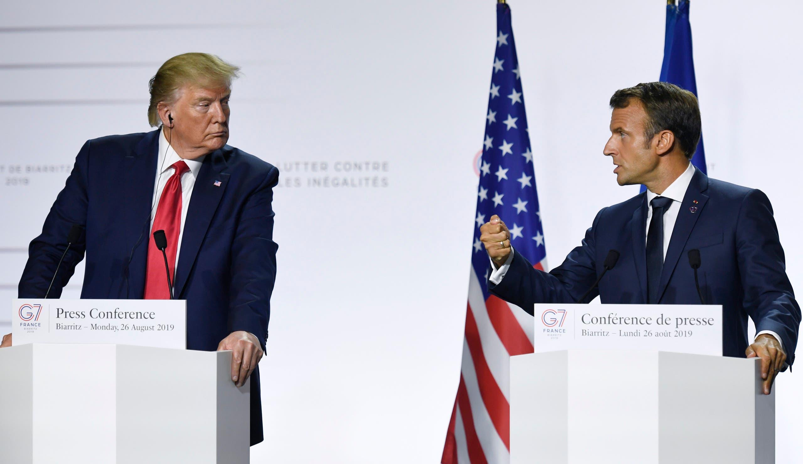 لقاء بين الرئيس الفرنسي ايمانويل ماكرون والرئيس الأميركي دونالد ترمب خلال قمة مجموعة الـ7 (أرشيفية)