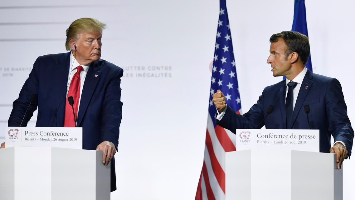 France President Emmanuel Macron and US President Donald Trump AFP