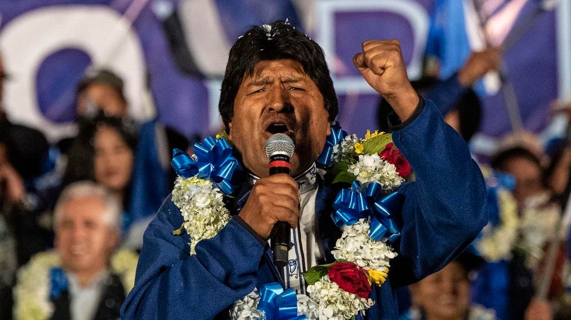 Bolivia's President and presidential candidate Evo Morales gestures during a political rally in El Alto, Bolivia. (AFP)