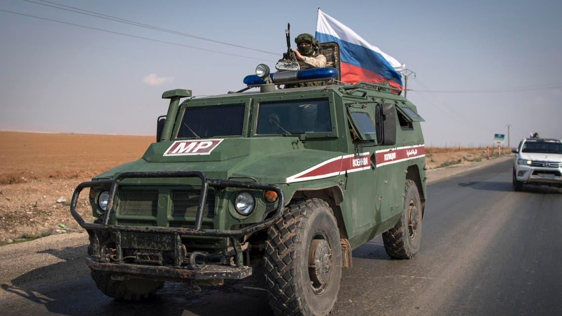 Russian military police patrol near Qamishli Syria October 24, 2019 - AFP