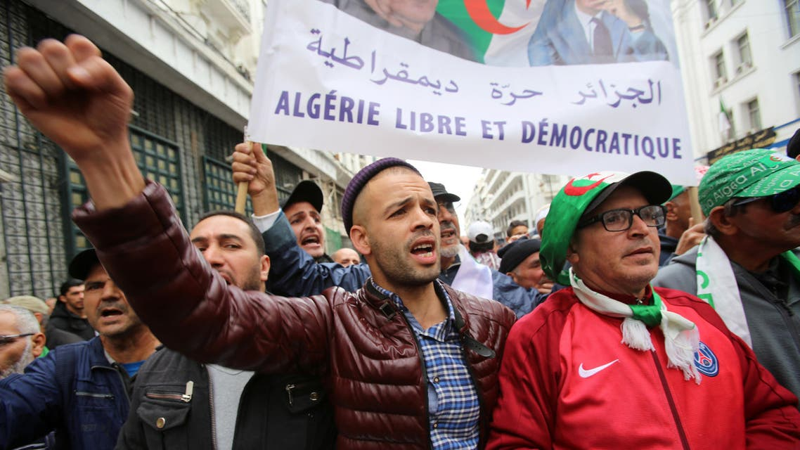 Demonstrators march during a protest against the country's ruling elite and rejecting the December presidential election in Algiers, Algeria November 12, 2019. REUTERS