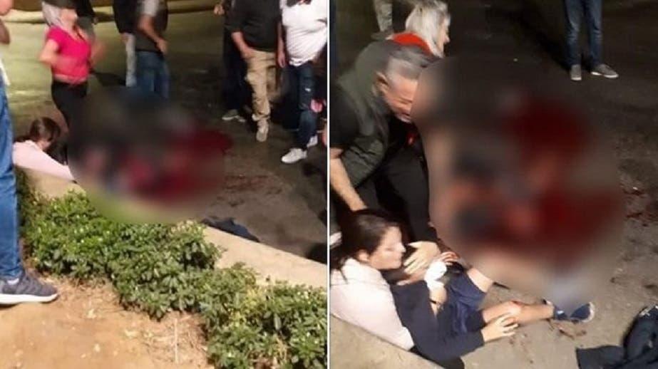 صورة لزوجة القتيل في خلدة وطفليه بعد الحادث