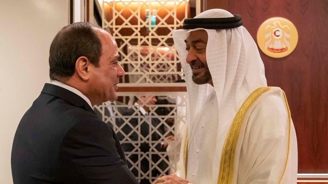 Egyptian President Abdel Fattah al-Sisi received by Abu Dhabi's Crown Prince Sheikh Mohammed bin Zayed Al Nahyan. (Supplied)