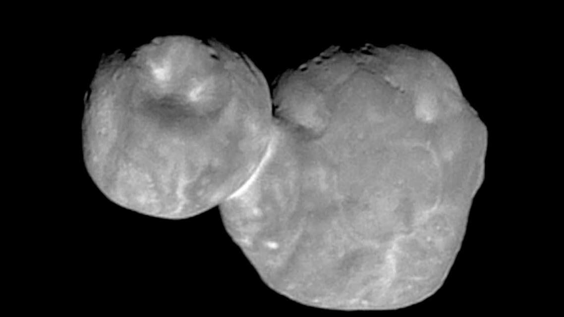 """the Kuiper belt object originally called """"Ultima Thule,"""" about 1 billion miles beyond Pluto, encountered by the New Horizons spacecraft. (AP)"""