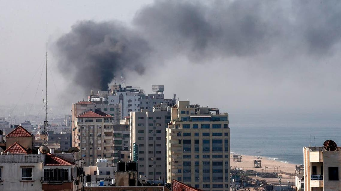 Smoke billows in Gaza City following an Israeli strike on November 12, 2019. (AFP)