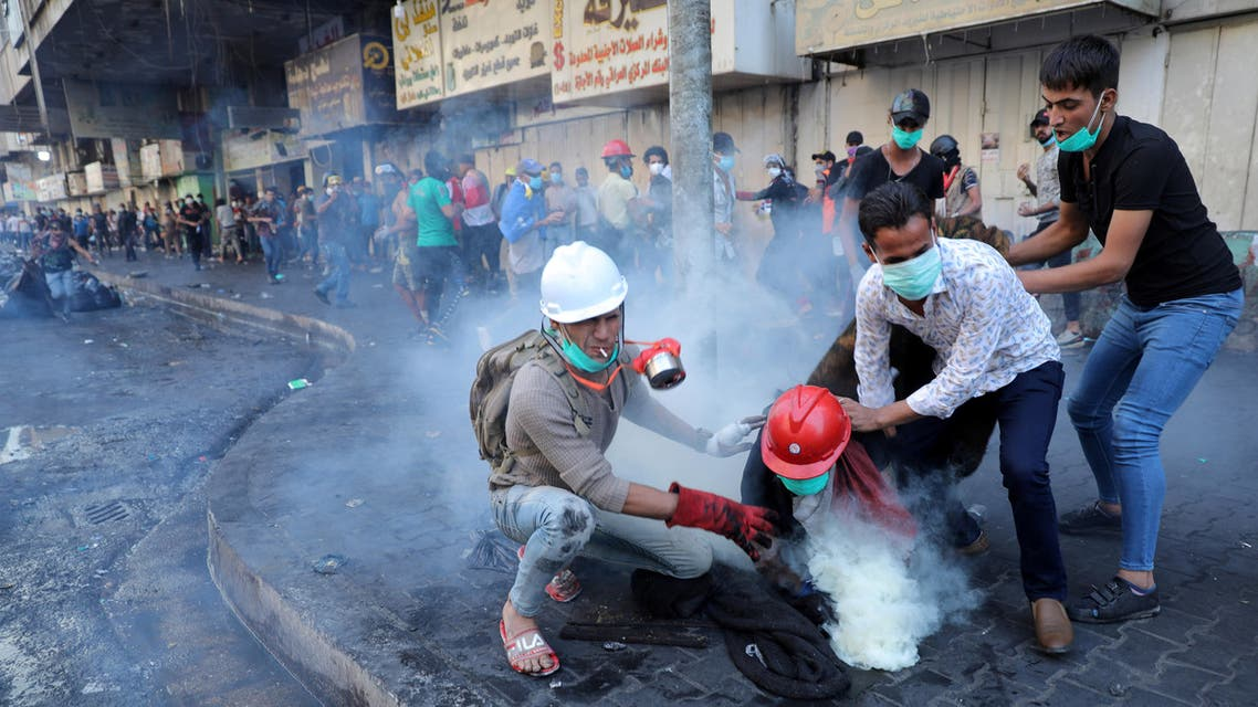 Iraq tear gas protests from November 13 - Reuters