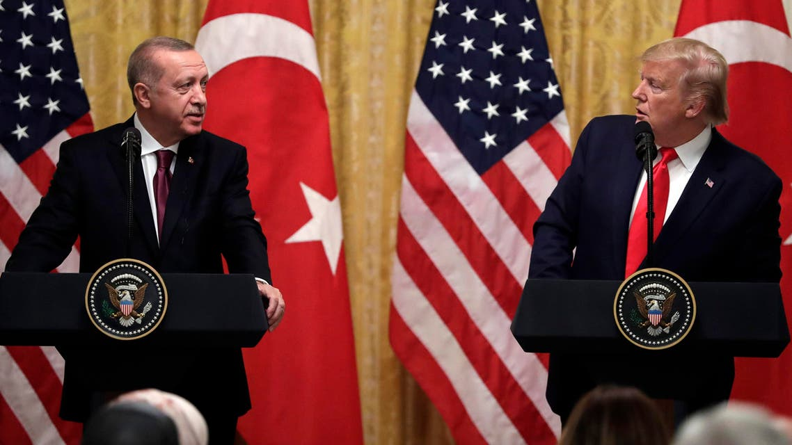 President Donald Trump speaks during a news conference with Turkish President Recep Tayyip Erdogan in the East Room of the White House, Wednesday, Nov. 13, 2019, in Washington. (AP Photo)