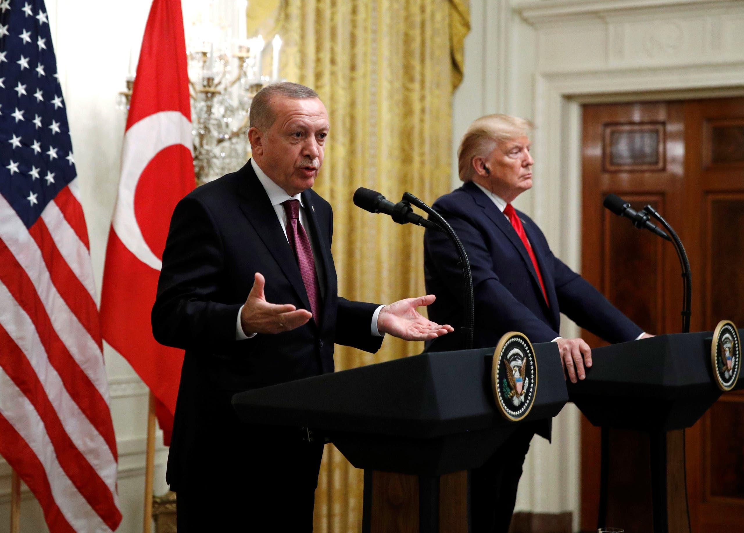 Turkish President Recep Tayyip Erdogan in the East Room of the White House, Wednesday, Nov. 13, 2019, in Washington. (AP)