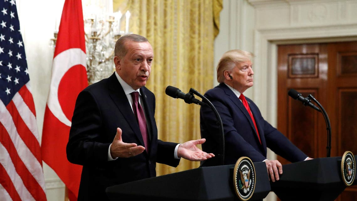 Turkish President Recep Tayyip Erdogan in the East Room of the White House, Wednesday, Nov. 13, 2019, in Washington. (AP)