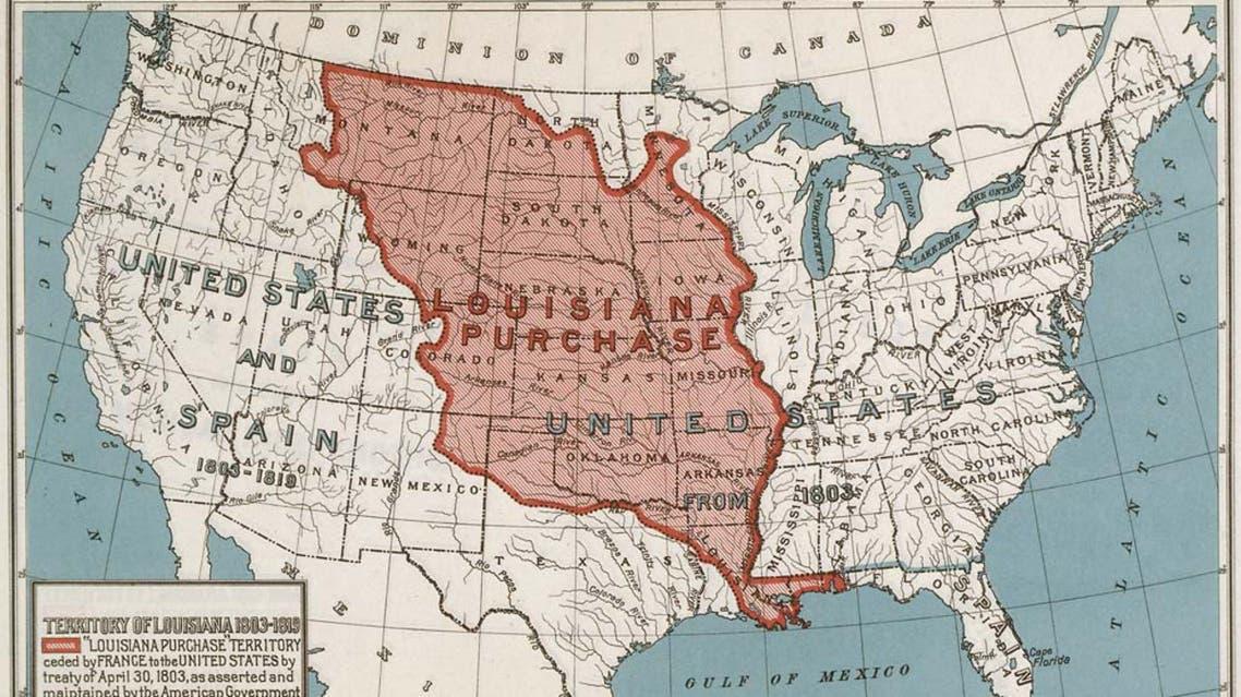 خريطة لأراضي لويزيانا التي حصلت عليها الولايات المتحدة الأميركية
