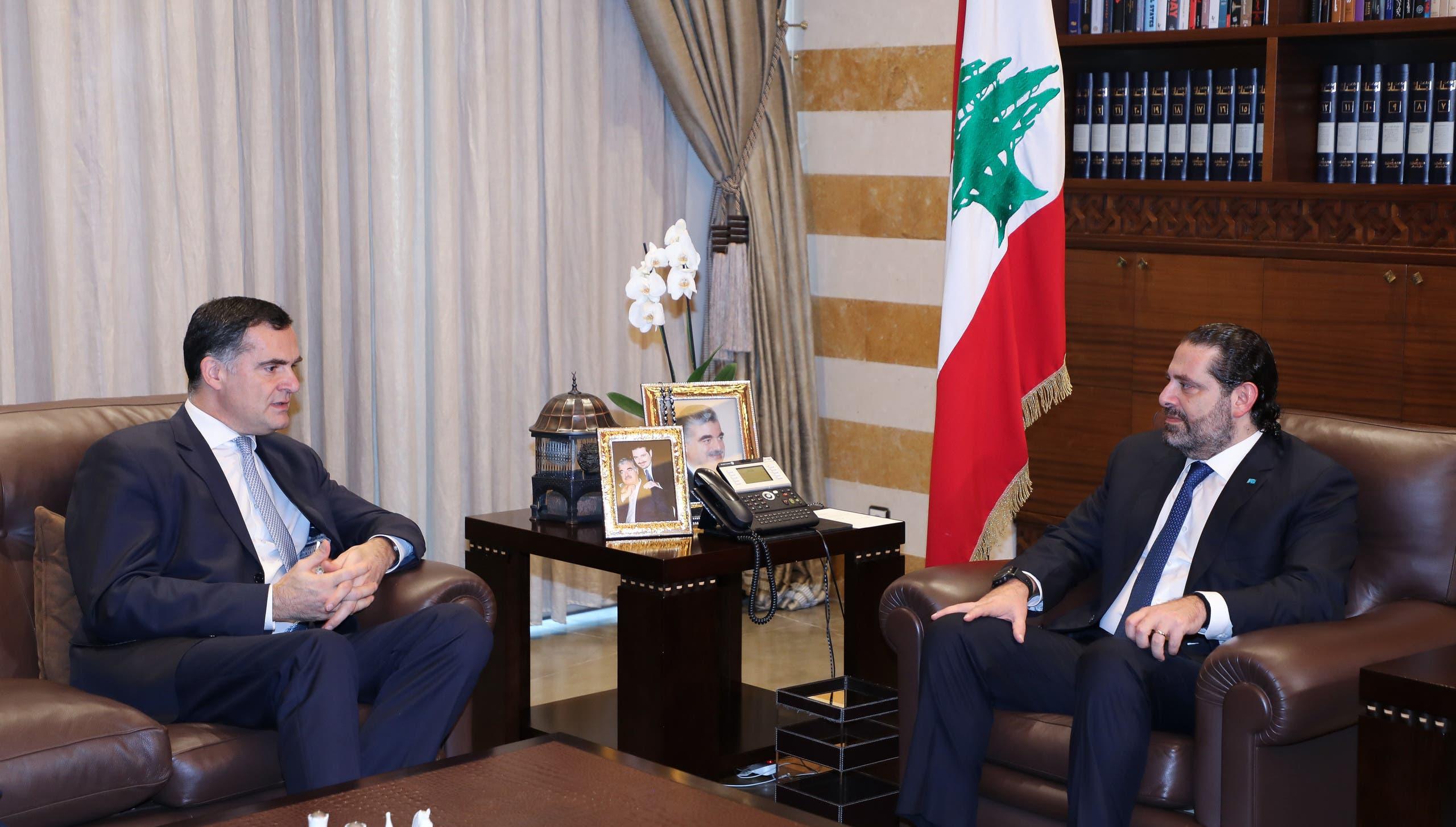 الموفد الفرنسي خلال لقائه رئيس الحكومة المستقيل سعد الحريري (أرشيفية)