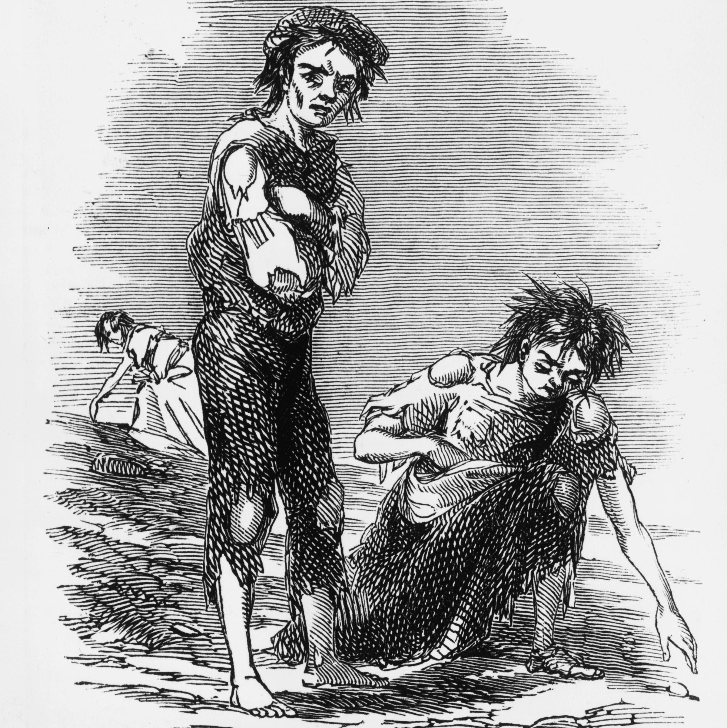 رسم تخيلي يجسد الحالة المزرية للأيرلنديين خلال فترة مجاعة البطاطس