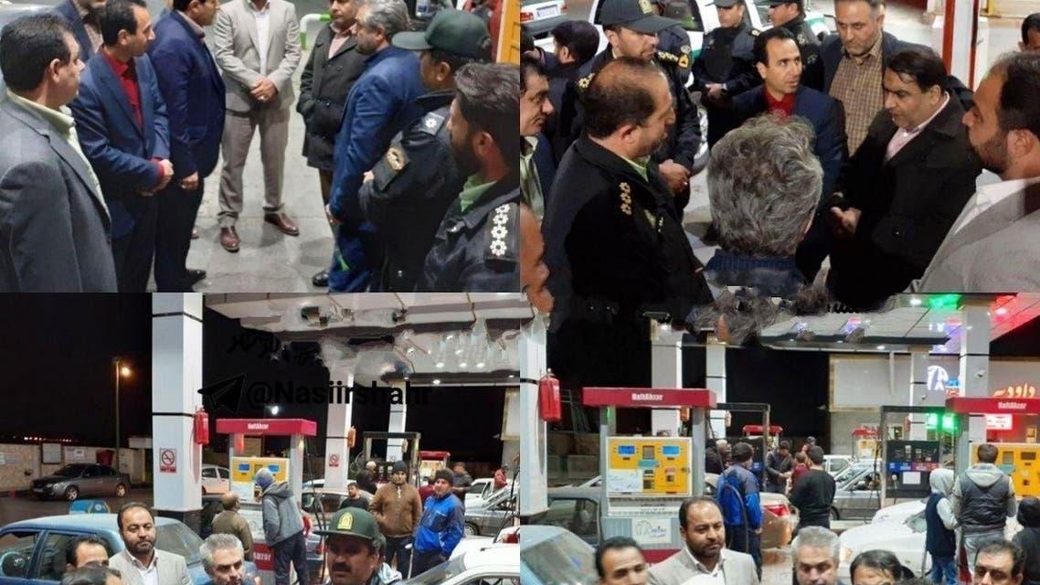 حضور الشرطة لاحدى المحطات في منطقة رباط كريم جنوب طهران