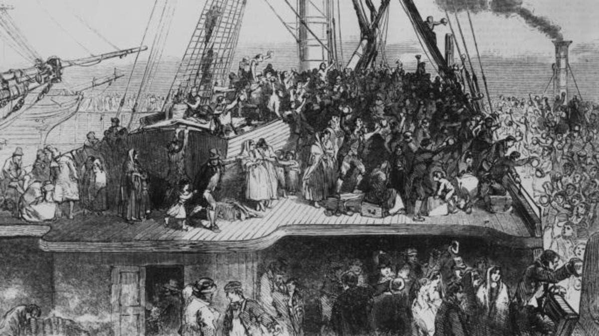 لوحة تجسد الاكتضاظ على متن سفن المهاجرين الأيرلنديين