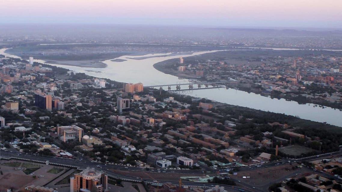 An aerial view shows the Nile river cutting through the Sudanese capital Khartoum. (AFP)