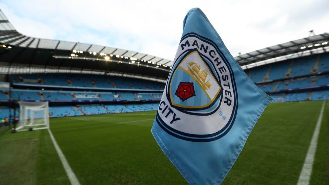 The club logo decorates a corner flag before the English Premier League soccer match between Manchester City and Newcastle United at the Etihad Stadium in Manchester. (AP)