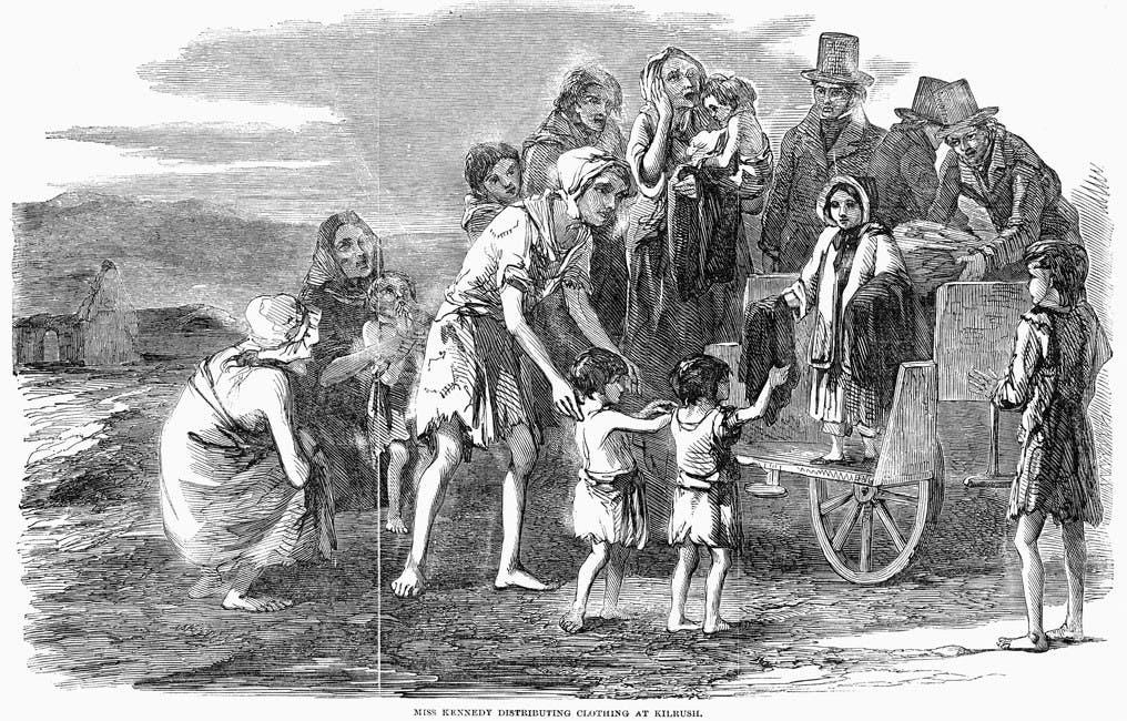 لوحة تجسد مظاهر البؤس لدى الأيرلنديين زمن المجاعة