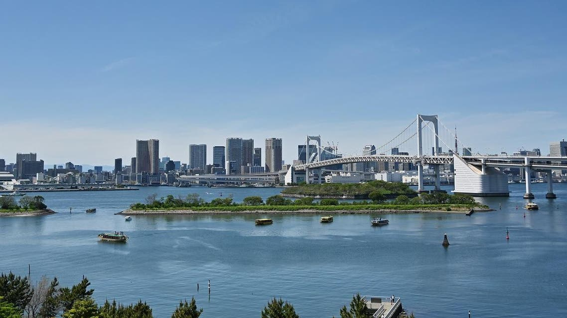 This picture taken on April 28, 2019 from the Odaiba Beach shows the Tokyo Bay during a sunny day. (AFP)