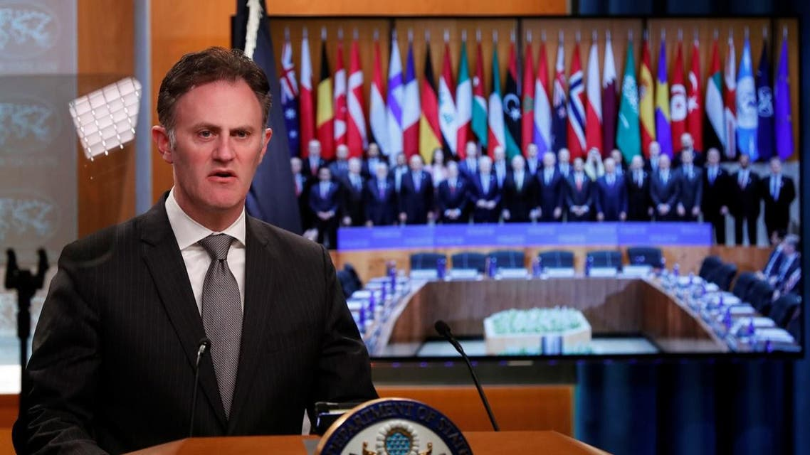 Ambassador Nathan Sales Acting Under Secretary for Civilian Security Democracy and Human Rights and Coordinator for Counterterrorism speaks during a news conference. (Reuters)
