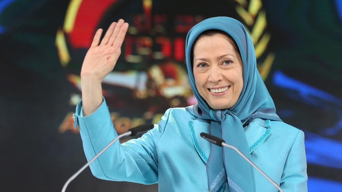 Maryam Rajavi, the leader of the National Council of Resistance of Iran, waves to the audience as she addresses thousands of exiled Iranians in Villepinte, north of Paris, Friday June 27, 2014. (AP)