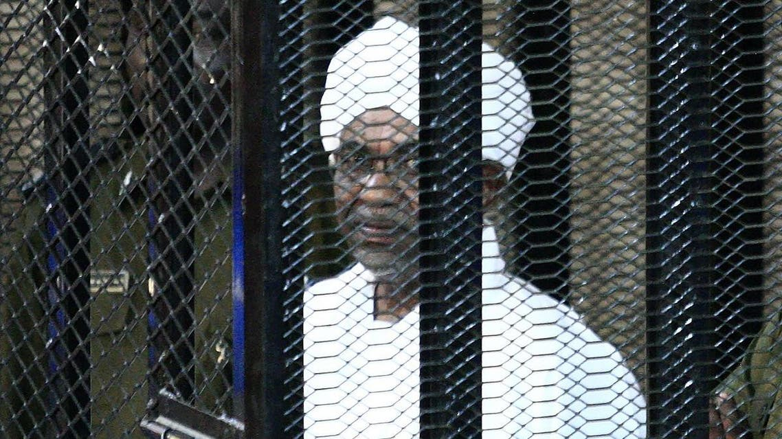 Sudan's ex-president Omar al-Bashir appears in court in the capital Khartoum on August 31, 2019 to face charges of illegal acquisition and use of foreign funds. (AFP)