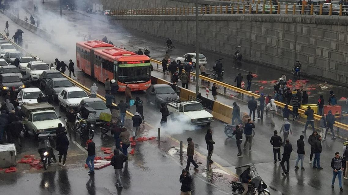 People protest against increased gas price, on a highway in Tehran, Iran November 16, 2019. (Reuters)
