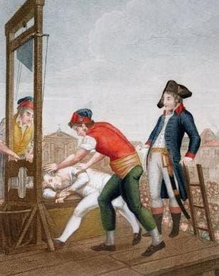 لوحة تجسد اعدام روبسبيار بالمقصلة زمن الثورة الفرنسية