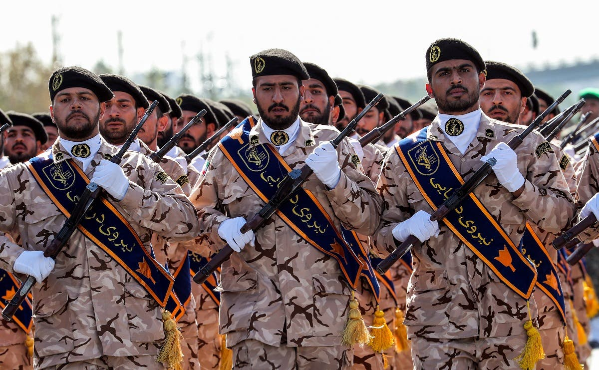 Members of Iran's Revolutionary Guards Corps (IRGC) march during the annual military parade in Tehran on September 22, 2018. (AFP)