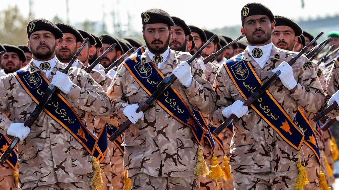 Members of Iran's Revolutionary Guards Corps (IRGC) march during the annual military parade marking the anniversary of the outbreak of the devastating 1980-1988 war with Saddam Hussein's Iraq, in the capital Tehran on September 22, 2018. (AFP)