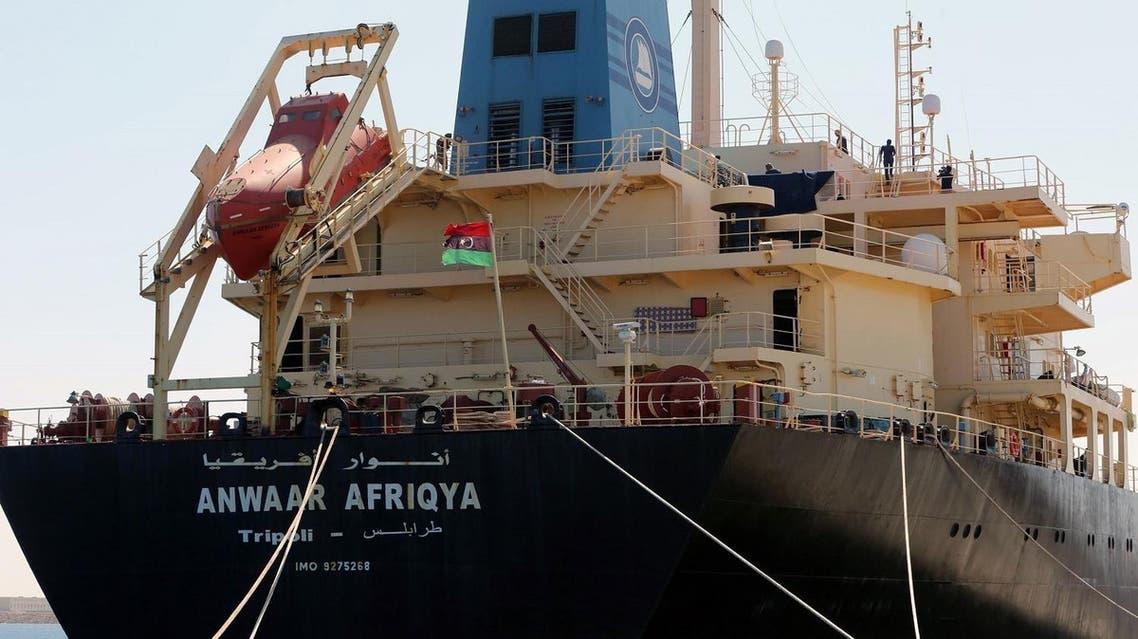 picture taken on May 28, 2015 in the eastern port city of Misrata shows the oil tanker Anwar Afriqya. (AFP)