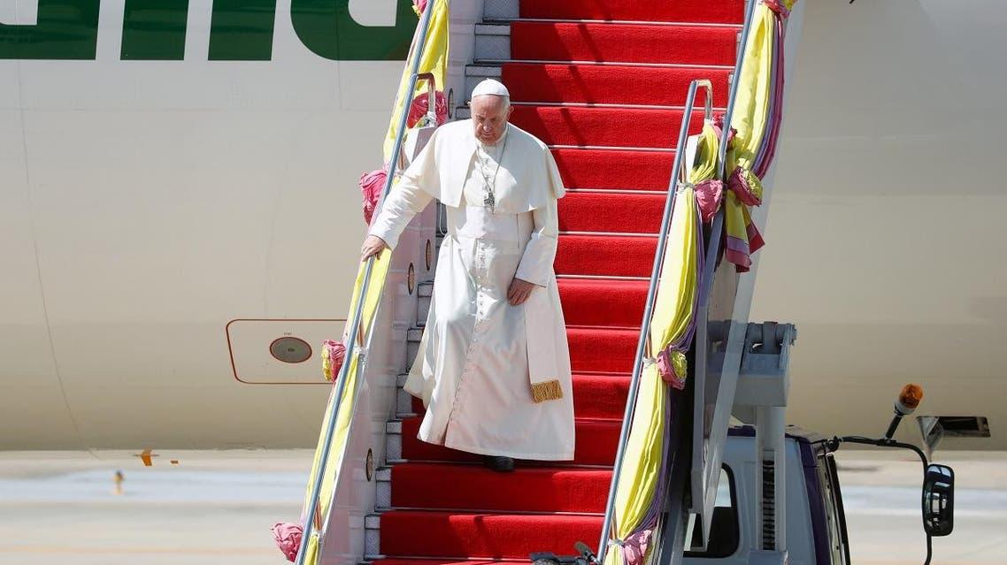 Pope Francis arrives at a military air terminal in Bangkok, Thailand November 20, 2019. REUTERS