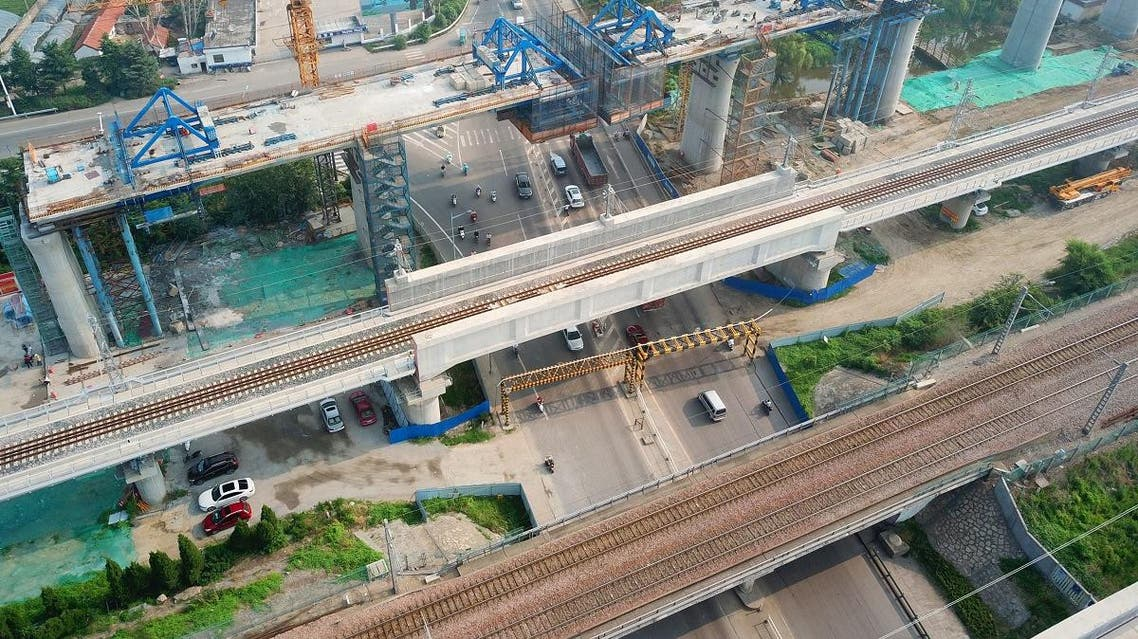 This photo taken on July 14, 2019 shows a bridge under construction for China's high-speed rail network in Donghai county, in Lianyungang, in China's eastern Jiangsu province. (AFP)