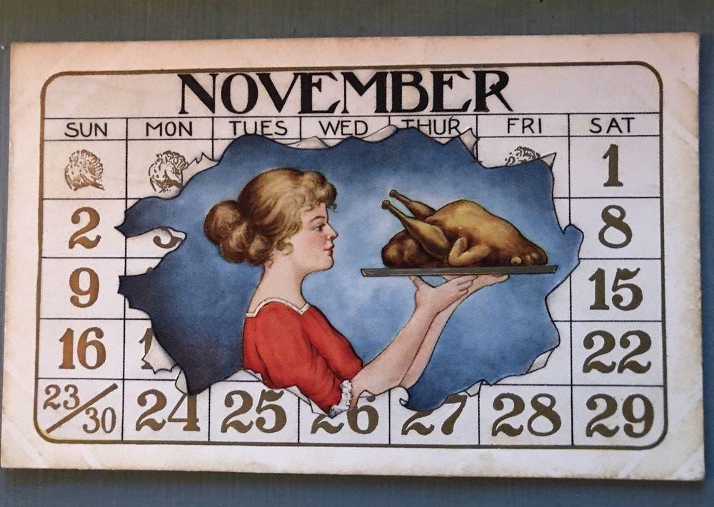 يومية تقويم ميلادي من القرن الماضي تظهر احتفال عيد الشكر