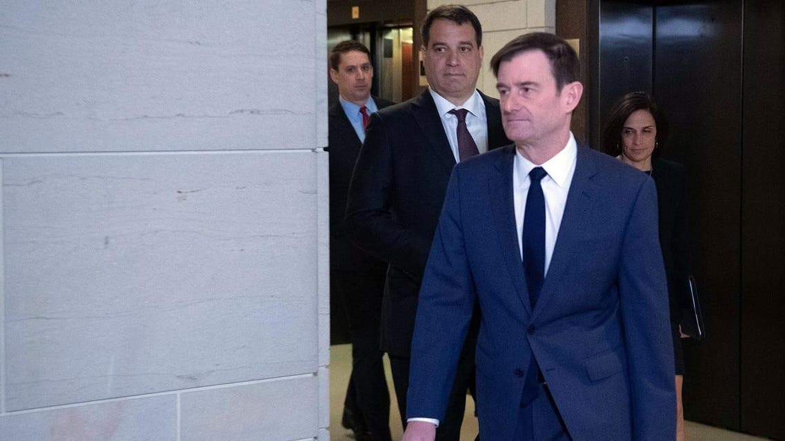 David Hale, Under Secretary of State for Political Affairs, arrives for a closed hearing in the impeachment inquiry at the US Capitol in Washington, DC, on November 6, 2019. (AFP)