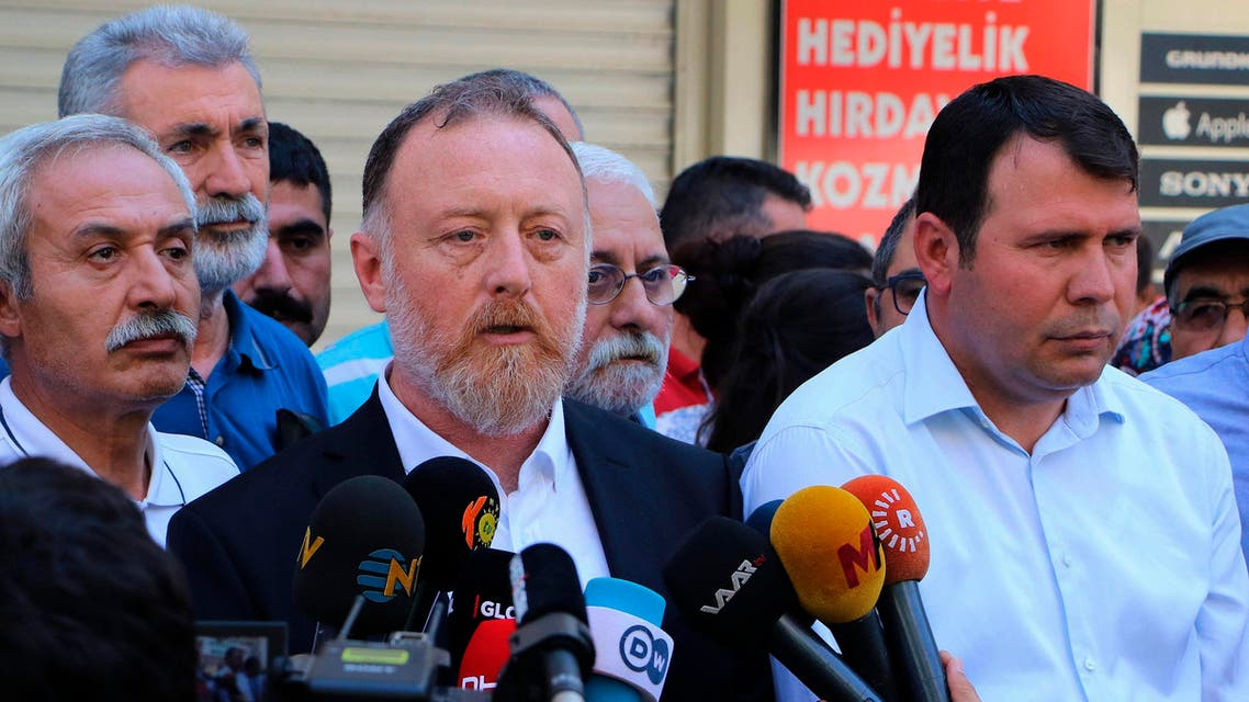 Sezai Temelli, co-chairman of pro- Kurdish Peoples' Democratic Party, or HDP, speaks to the media in Diyarbakir, Turkey, Tuesday, Aug. 20, 2019 (AP)