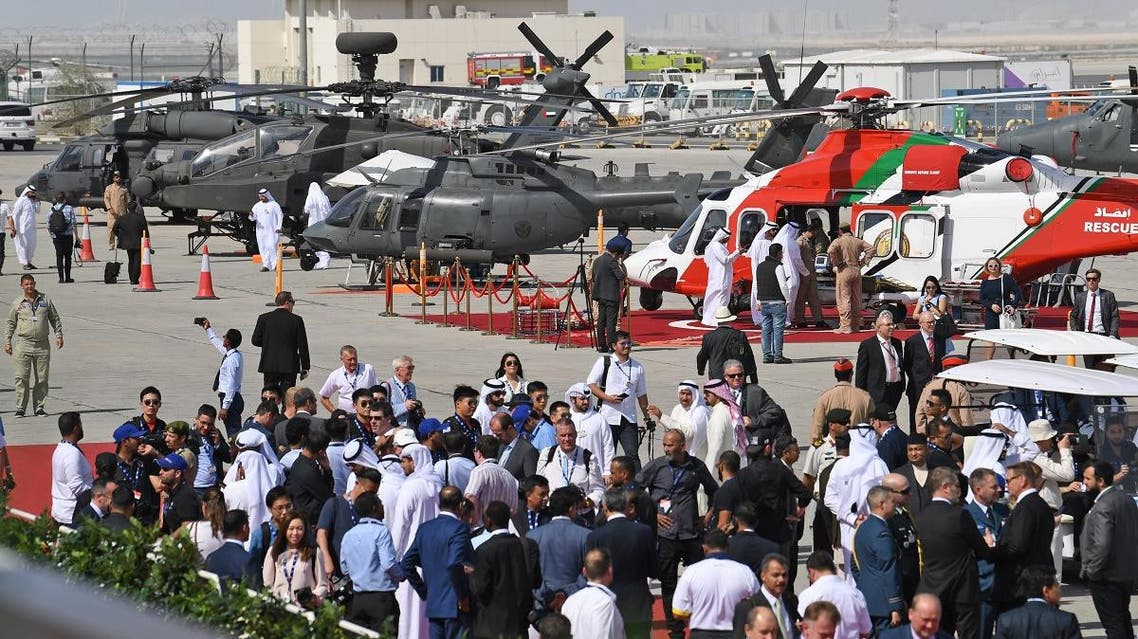 People attend the Dubai Airshow on November 18, 2019. (AFP)