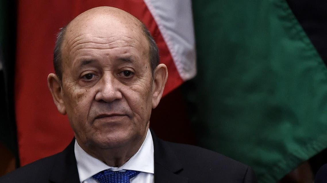 French Foreign Affairs Minister Jean-Yves Le Drian looks on during the Global Coalition to Defeat ISIS Small Group Ministerial, at the State Department in Washington, DC, on November 14, 2019. (AFP)