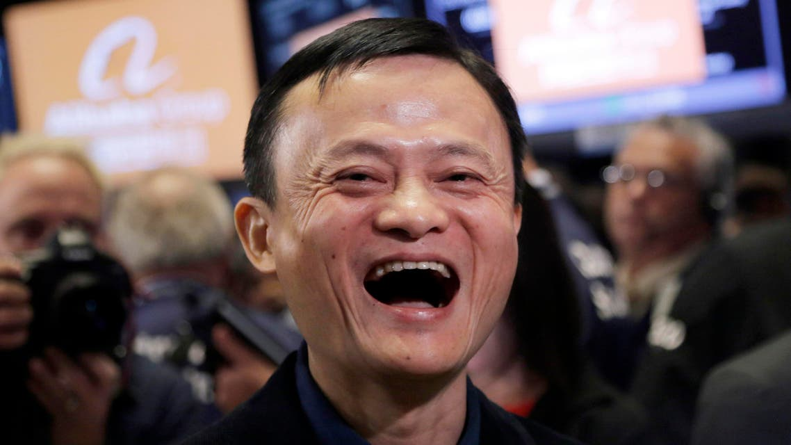 In this Sept. 19, 2014, file photo, Jack Ma, founder of Alibaba, smiles during the company's IPO at the New York Stock Exchange in New York (AP)