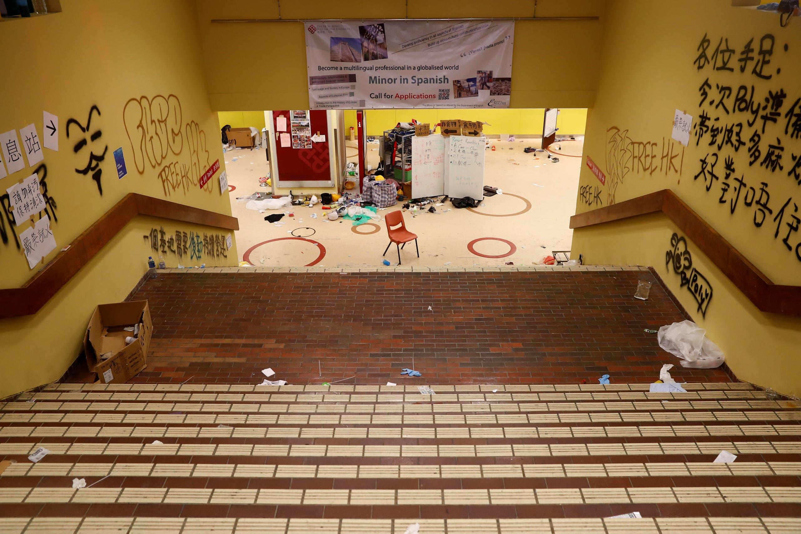 Graffiti and debris are seen in Hong Kong Polytechnic University (PolyU) in Hong Kong, China November 20, 2019. (Reuters)
