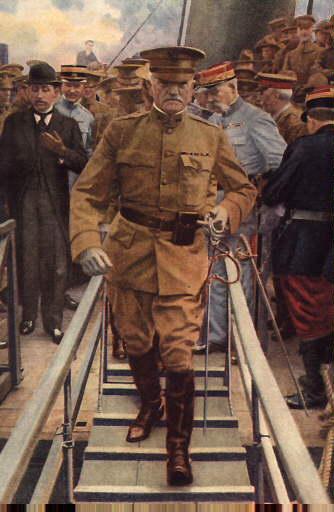 لوحة تجسد الجنرال بيرشنغ عند نزوله بفرنسا