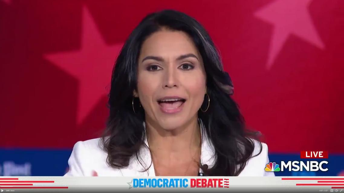 Gabbard screenshot from MSNBC debate 20-11-19 (Screengrab)
