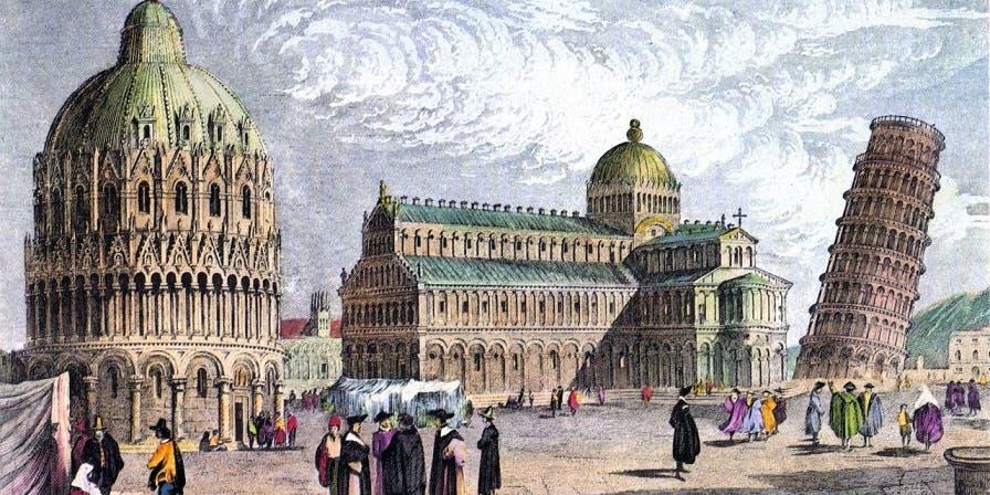 لوحة زيتية تعود لفترة عصر النهضة ويبرز فيها برج بيزا المائل