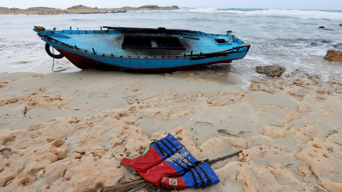 A boat used by migrants is seen near the western town of Sabratha Libya March 19 2019 REUTER/