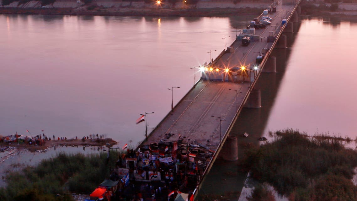 احتجاجات العراق - جسر وسط بغداد
