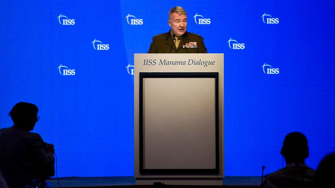 General Kenneth F. McKenzie Jr, US Central Command (CENTCOM) Commander, addresses a session focused on maritime security during 15th Manama Dialogue in Manama on November 23, 2019. (AFP)