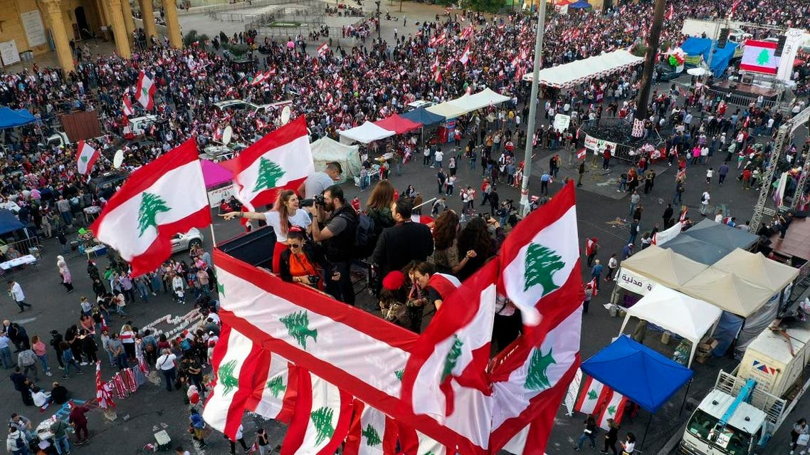In this photo from a drone, anti-government protesters gather during separate civil parade at the Martyr square, in downtown Beirut, Lebanon, on November 22, 2019. (AP)