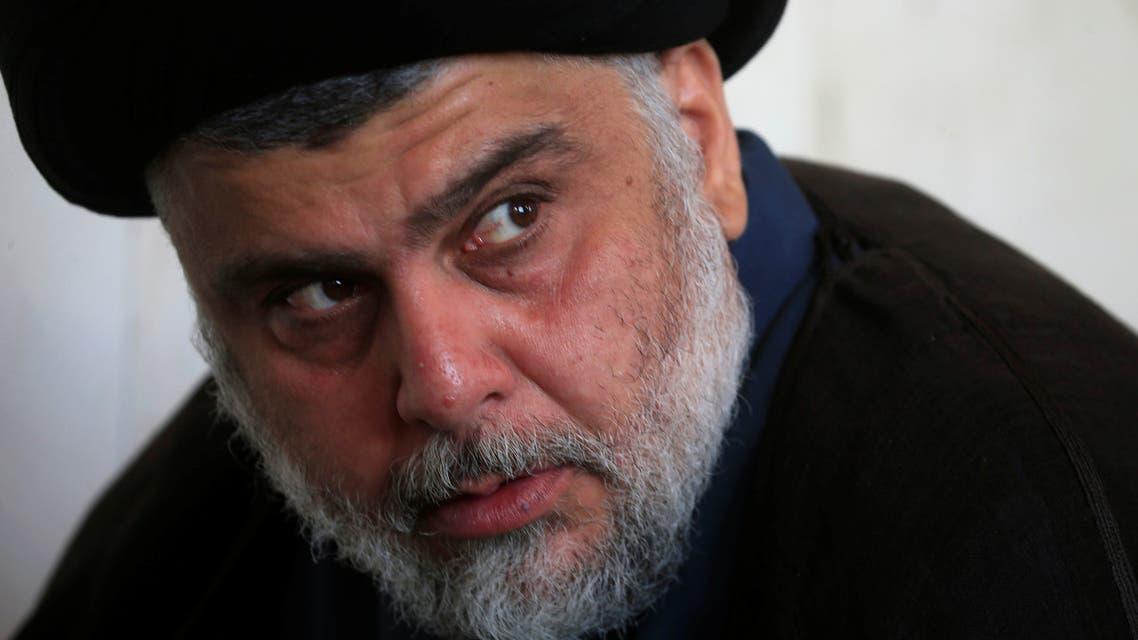 Iraqi Shi'ite cleric Muqtada al Sadr attends Friday prayer at the Kufa mosque in Najaf Iraq November 1 2019 REUTERS