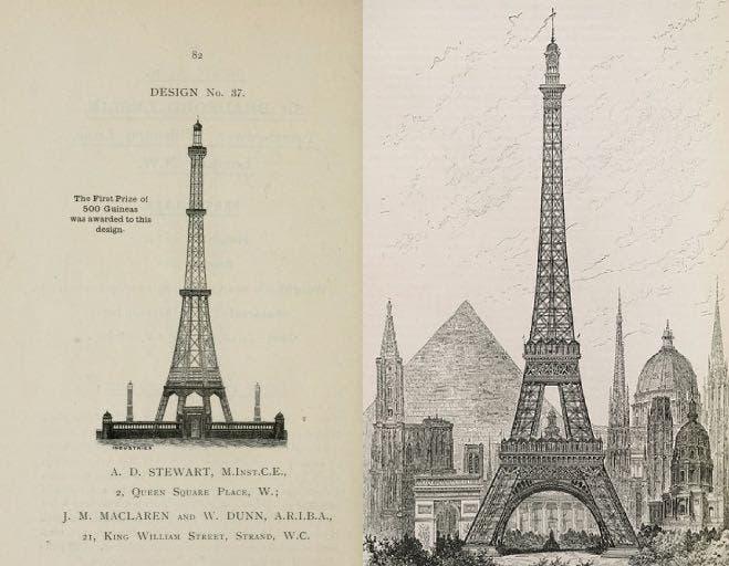 صورة تقارن بين تصميم برج واتكين وبرج إيفل